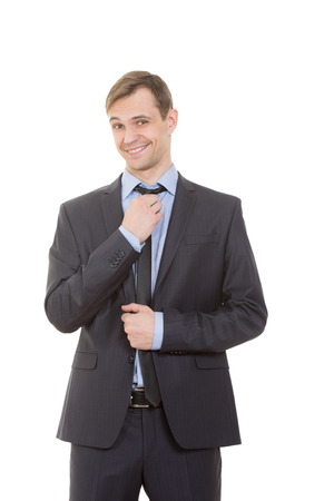 business suit: body language. man in business suit isolated on white background.
