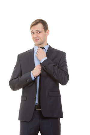 considerate: body language. man in business suit isolated on white background.
