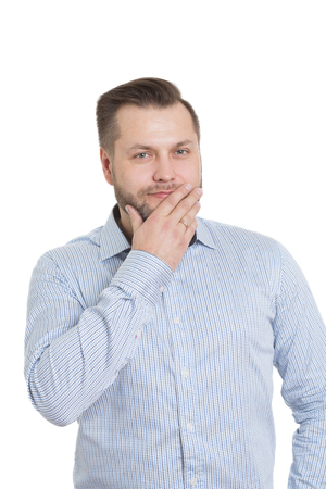 nonverbal: adult male with a beard. isolated on white background. hand covers her mouth. lips.