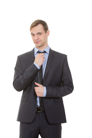 nonverbal communication: body language. man in business suit isolated on white background.
