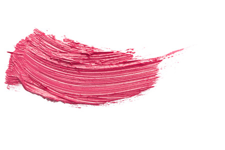 pink paint: red lipstick stroke isolated on white background