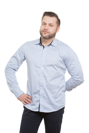 nonverbal communication: adult male with a beard. isolated white background. aggressive man ready for action