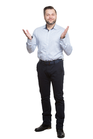 open posture. legs apart. hand open palm upwards. foot forward Standard-Bild