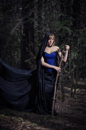 dark elf: Dark portrait of the forest keeper. Fantasy and gothic