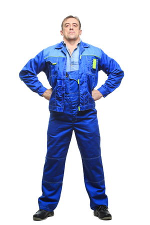 boiler suit: Full length worker in a boiler suit Stock Photo