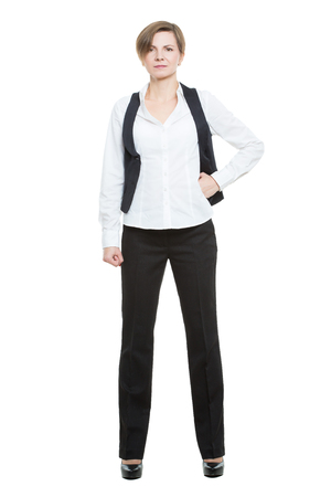 legs wide open: Portrait in full growth. Businesswoman legs wide apart. open posture. hand on the side.  isolated on white background Stock Photo