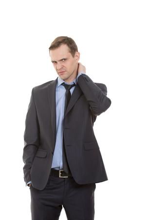 lenguaje corporal: lenguaje corporal. hombre en traje de negocios aislado fondo blanco.