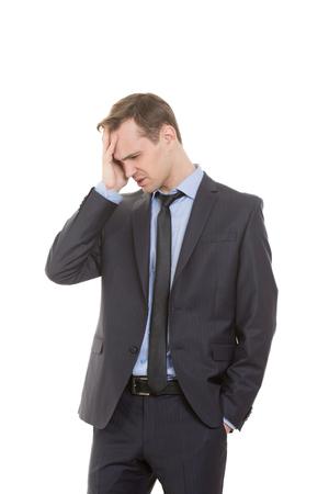 body language. man in business suit isolated white background. Zdjęcie Seryjne