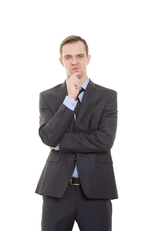 nonverbal communication: body language. man in business suit isolated white background. Stock Photo