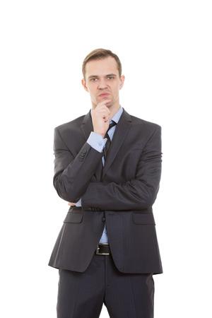 body language: body language. man in business suit isolated white background. Stock Photo