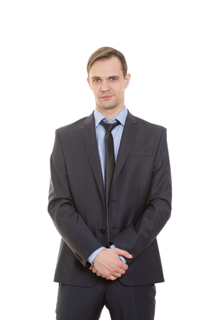 gestures: body language. man in business suit isolated on white background.