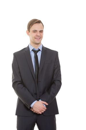 comunicacion no verbal: lenguaje corporal. hombre en traje de negocios aislados sobre fondo blanco.