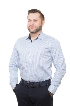 corporal language: adulto de sexo masculino con barba. aislado en el fondo blanco.