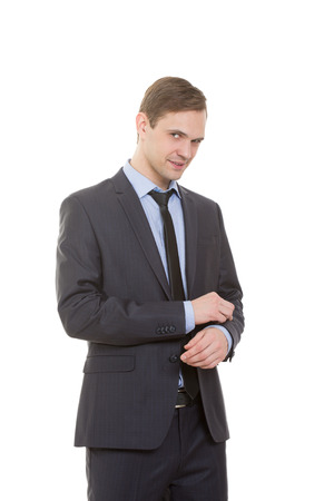 dissenting: body language. man in business suit isolated on white background.