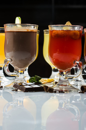 mulled wine. fruit or berry drink. alcohol winter Stock Photo