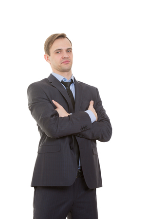 body language: body language. man in business suit isolated on white background. gestures of arms and hands. posture of superiority. emphasis thumbs