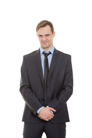 lenguaje corporal: lenguaje corporal. hombre en traje de negocios aislados sobre fondo blanco.