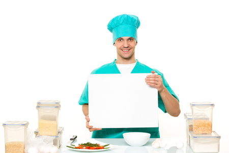 space for writing: cook on a white background with relies space for writing Stock Photo