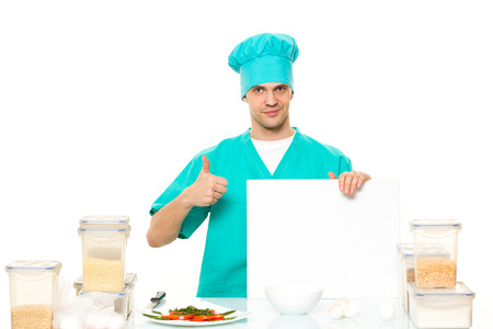relies: cook on a white background with relies space for writing Stock Photo