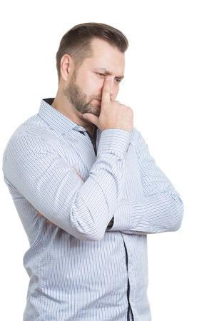 comunicacion no verbal: adulto de sexo masculino con barba. aislado en el fondo blanco. Lenguaje corporal. se�ales no verbales. directores de formaci�n. Foto de archivo