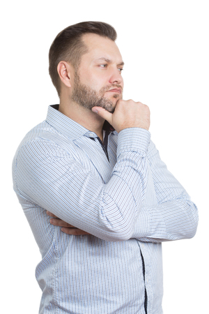 nonverbal: adult male with a beard. isolated on white background