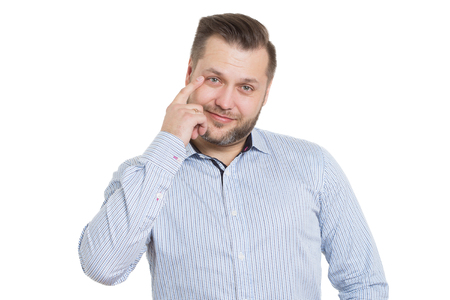 cues: adult male with a beard. isolated on white background. Body language. non-verbal cues. training managers.