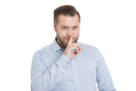 faked: adult male with a beard. isolated on white background. Body language. non-verbal cues. training managers.