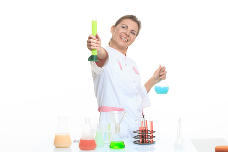 scientist: Woman chemist and chemicals in flasks, isolated on white background