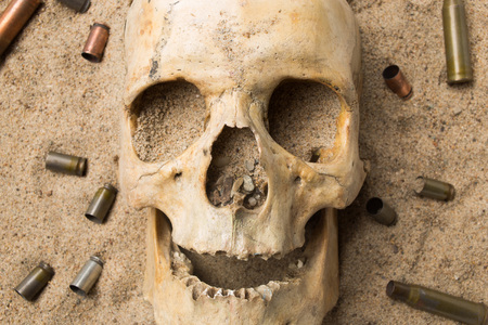 casings: skull lying in the sand, scattered rifle and pistol cartridges