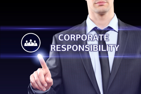 responsibility: business, technology, internet and networking concept - businessman pressing corporate responsibility button on virtual screens