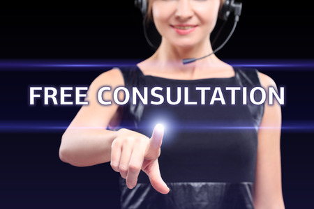 business, technology, internet and networking concept - businesswoman pressing free consultation button on virtual screens Zdjęcie Seryjne