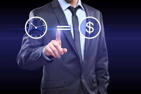 money button: time is money icon. Businessman pressing button on touch screen interface. Business, technology concept.