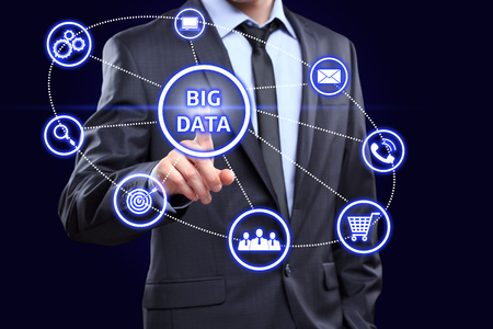 an analyst: Data mining ,dataminig, process and big data analysis ,bigdata, issue concept. Analyst click on button with text data mining linked with people.