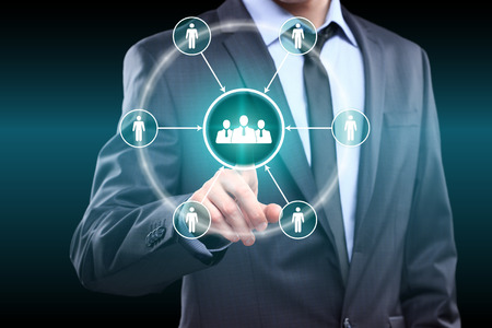 business, technology and internet concept - businessman pressing button on virtual screens Foto de archivo