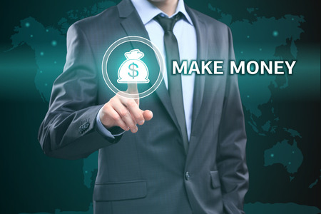 earn fast money: business, technology, internet and networking concept - businessman pressing make money button on virtual screens