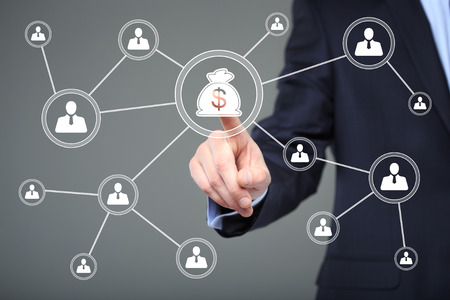 Businessman pushing button with icon dollar virtual