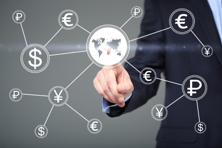 Businessman pushing button with dollar map currency web icon