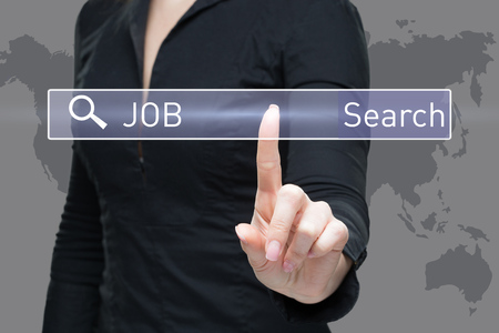 business, technology, internet concept - businesswoman pressing job search button on virtual screens