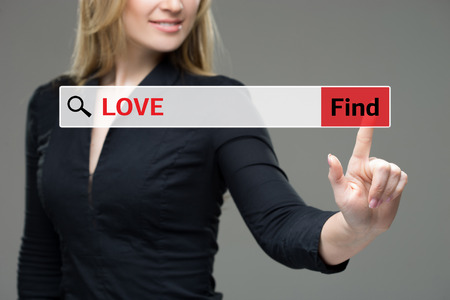 private domain: Find Love word Business man touching on red tab virtual screen for business concept