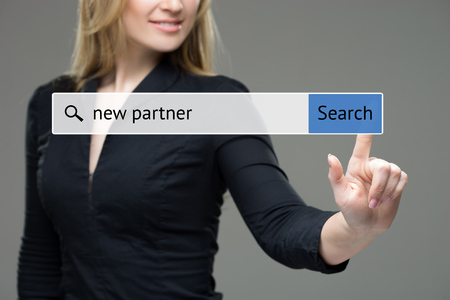 woman searching the web after new partner