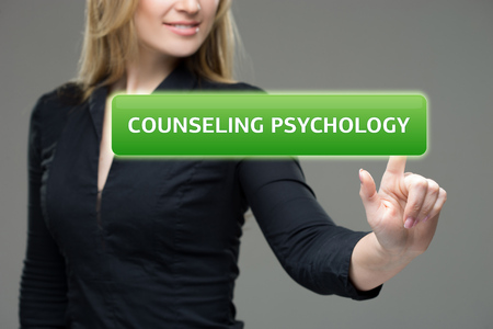 psychopath: Businessman presses button  counseling psychology on virtual screens. Business, technology, internet and networking concept. Stock Photo
