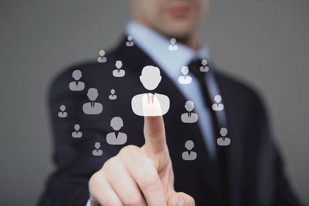 Businessman select Choice employee  human resource system. technology and internet concept.
