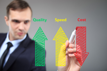 increased: business man writing industrial product and service improvement concept of increased quality - speed and reduced cost