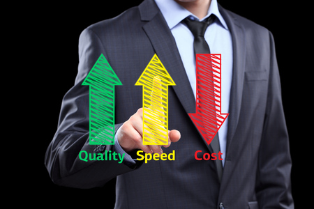 collate: business man writing industrial product and service improvement concept of increased quality - speed and reduced cost