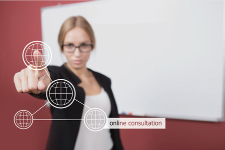 virtual assistant: technology and internet concept - businesswoman pressing online consulting button on virtual screens