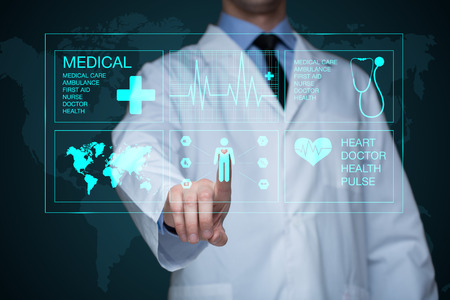 Doctor working on a virtual screen. medical technology concept