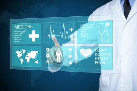 テクノロジー: 医者はグロー ハートビート ラインに触れます。 医療技術コンセプト。 写真素材