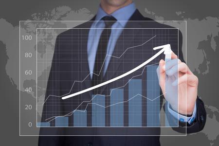 ingresos: Imagen de detalle de negocios de dibujo gráfico, la estrategia de negocio como concepto Foto de archivo