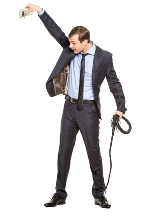 evil boss in a business suit with a whip. despotic boss concept