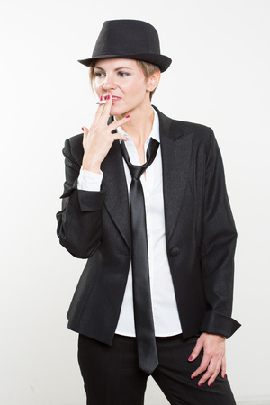 pipe smoking: Studio Photograph Of Young Confident Smoking Hot Business Woman With Hot Business Idea Thought And Brainwave While Pipe Smoking, Isolated On White Background